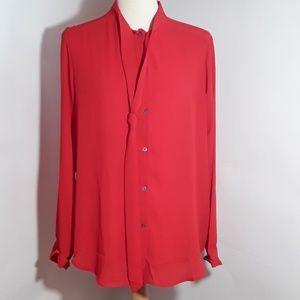 Banana Republic red neck tie blouse